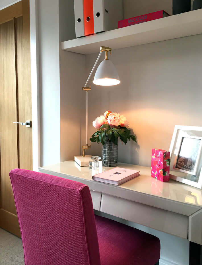 pink fabric chair for home office desk in bedroom