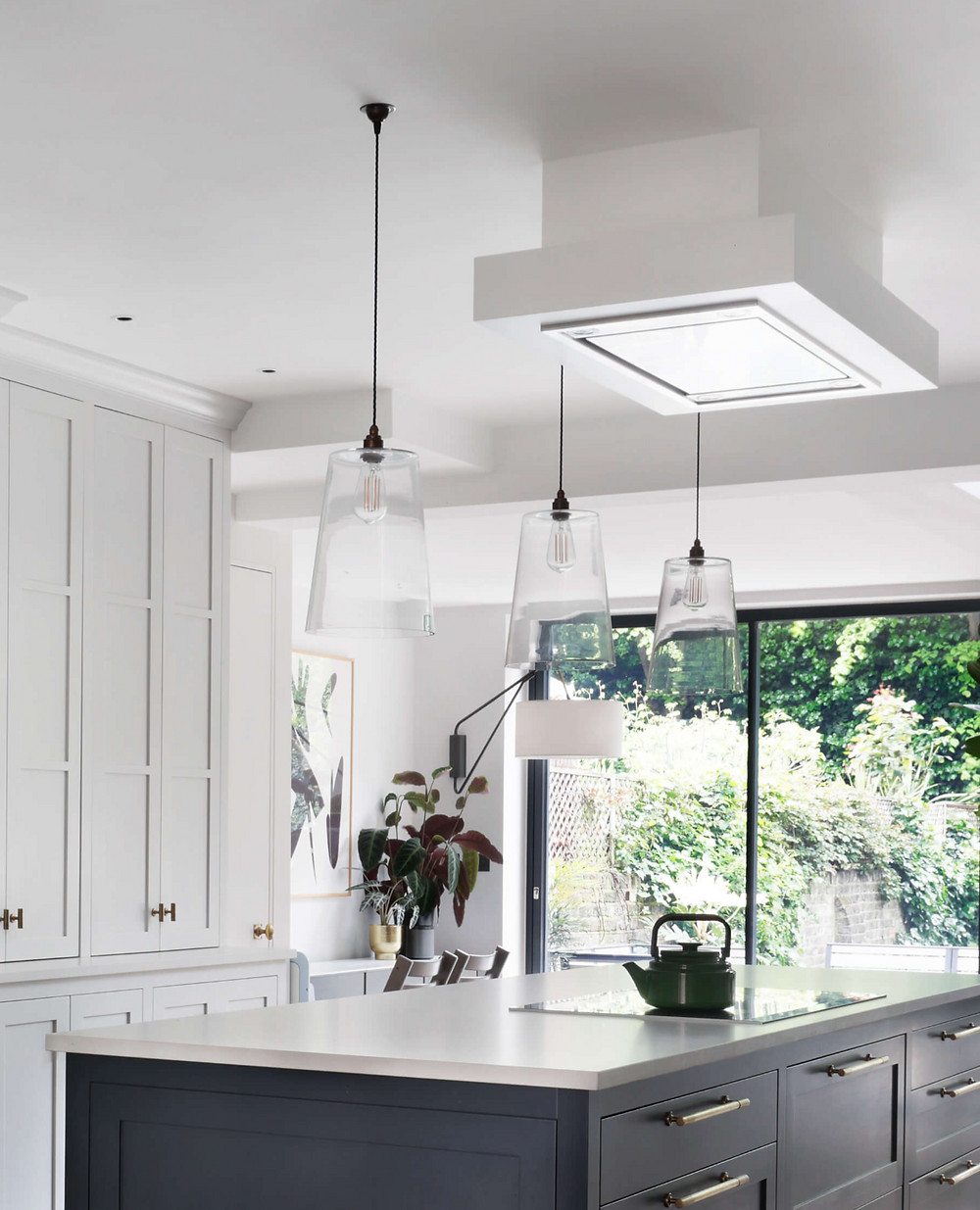kitchen ceiling lighting pendant above island at the project in Maida Vale, West London, by Catherine Wilman Interiors