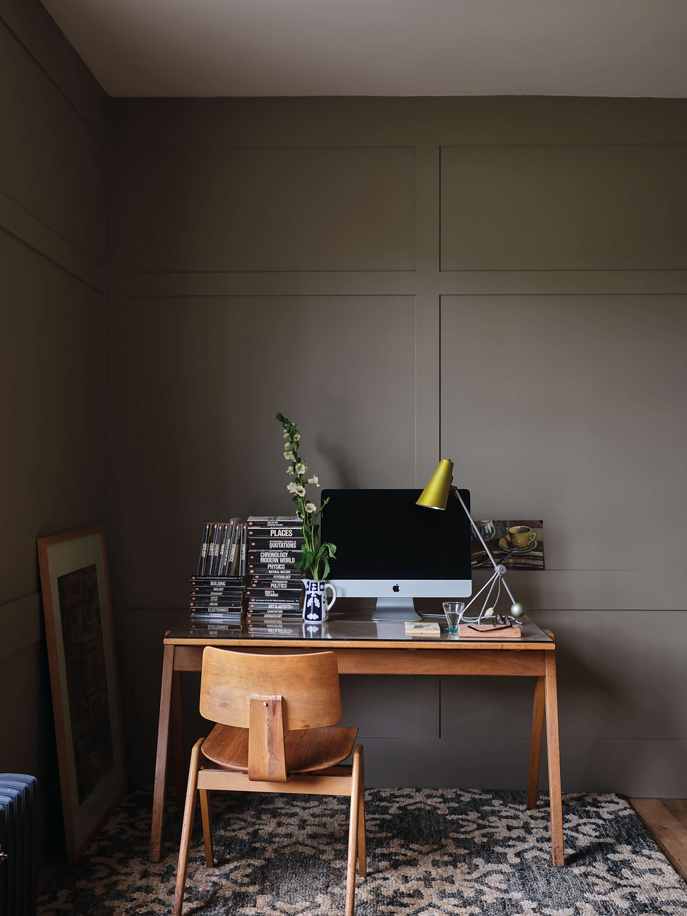 Home office setup with Farrow & Ball's Broccoli Brown paint