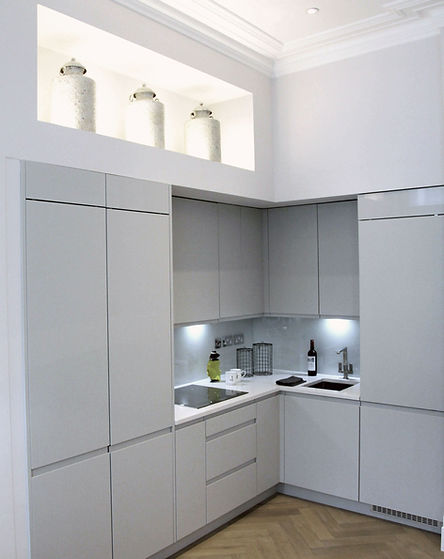 Kitchen vase lighting feature in luxury renovation at Cathcart Road by Catherine Wilman