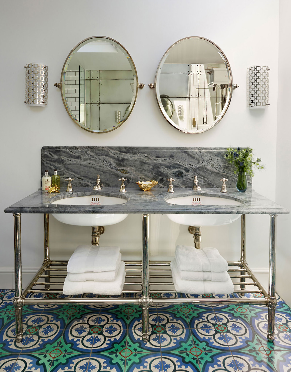 Luxury interiors: Double Crake vanity basin coordinates beautifully with the patterned tiles