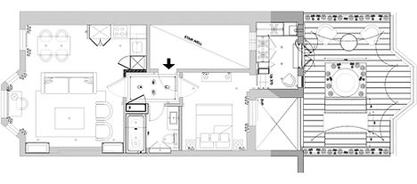 Architectural plans for Catherine Wilman Interiors' design for the Chelsea apartment.
