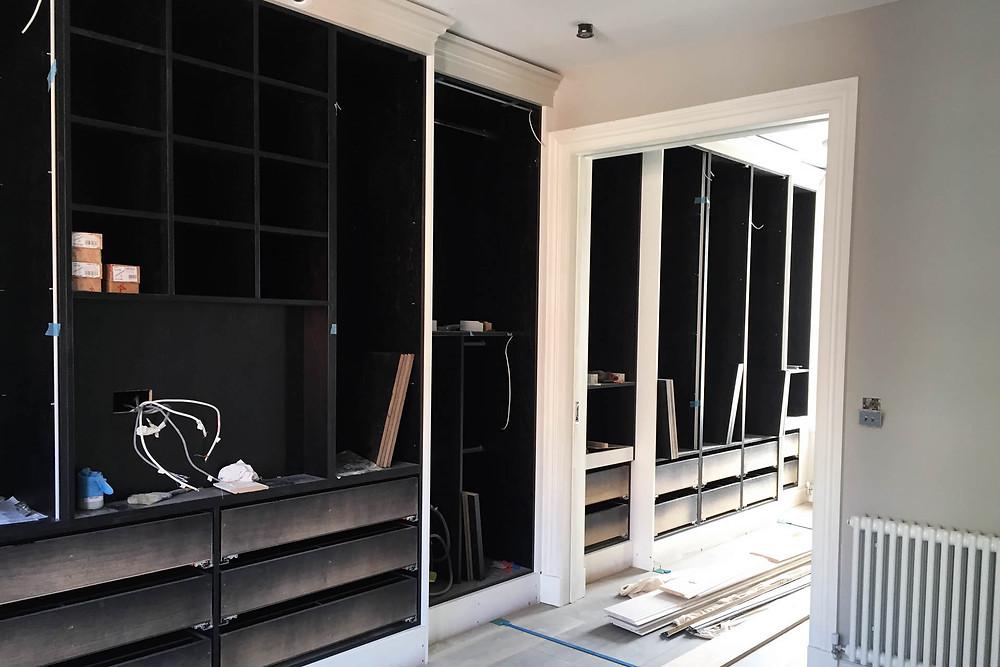 Work starts on the bespoke wardrobe
