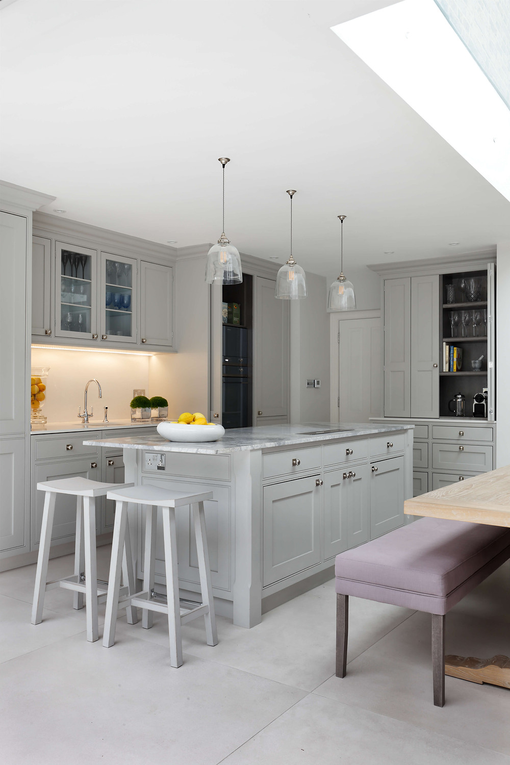 Kitchen in Fulham, West London, designed by Catherine Wilman Interiors with island and hand-made cupboards