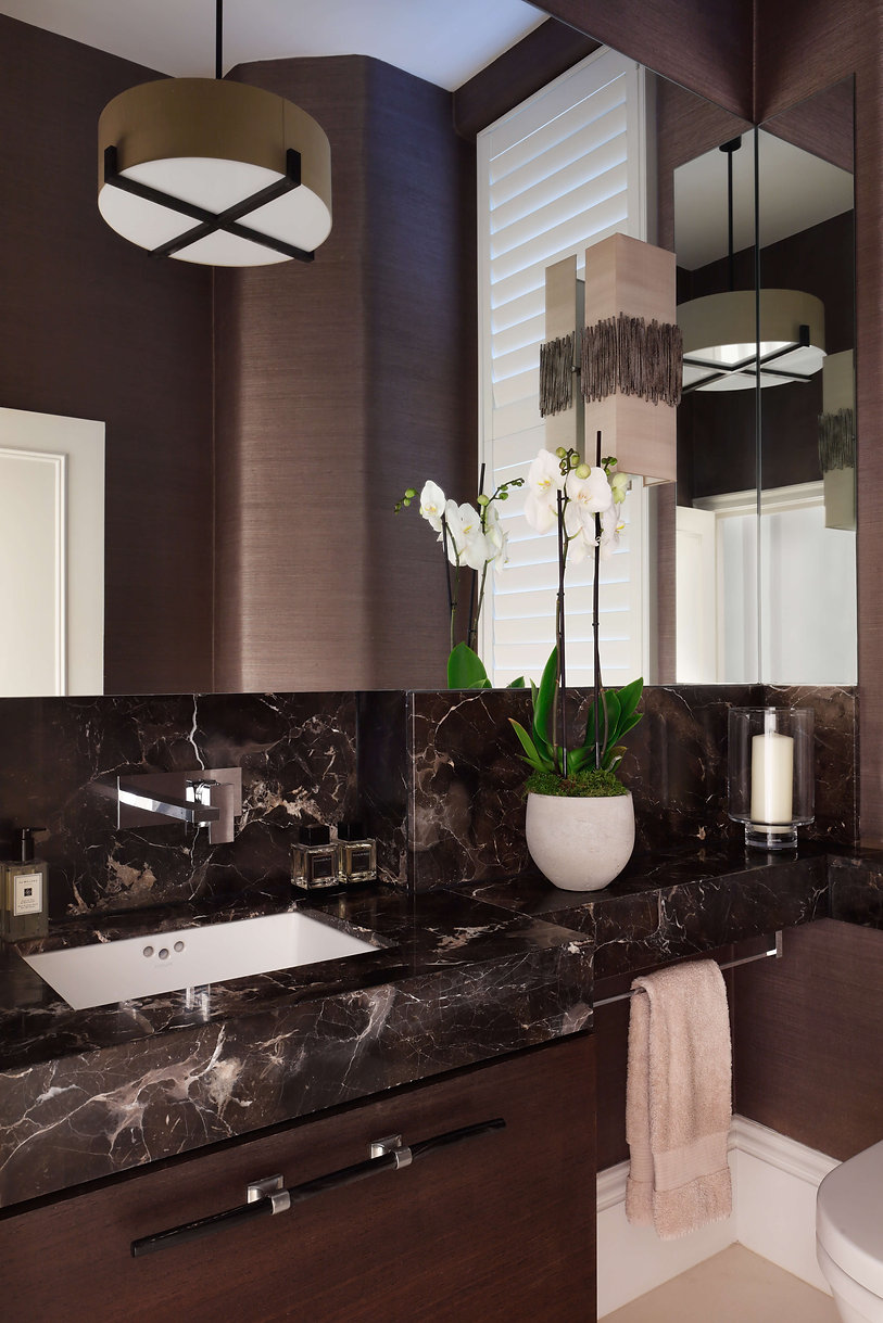 Catherine Wilman Interiors dark marble bathroom renovation
