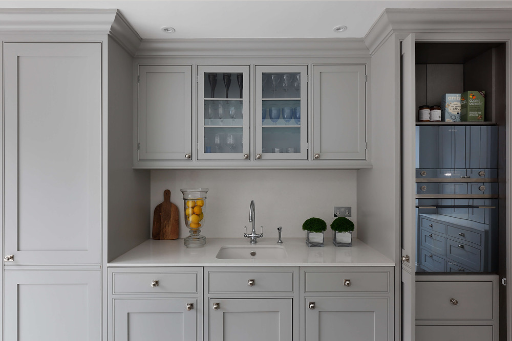 pale grey bespoke handmade cabinets in Fulham, West London, luxury kitchen design by Catherine Wilman