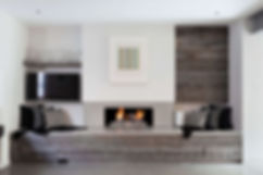 Basement kitchen fireplace design in TV area