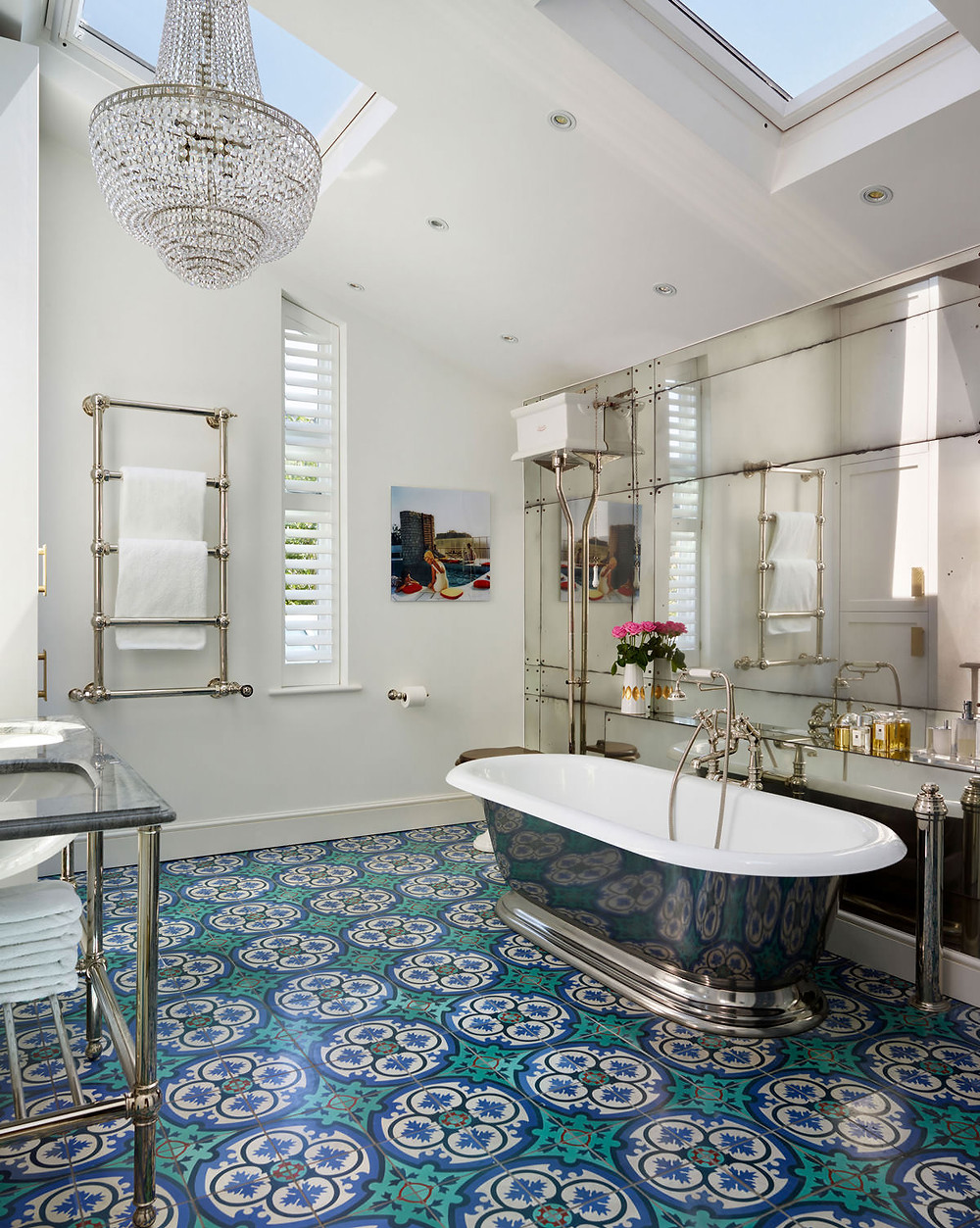Luxury interiors: Vibrant Mediterranean-style tiles for an en suite in a Victorian terrace