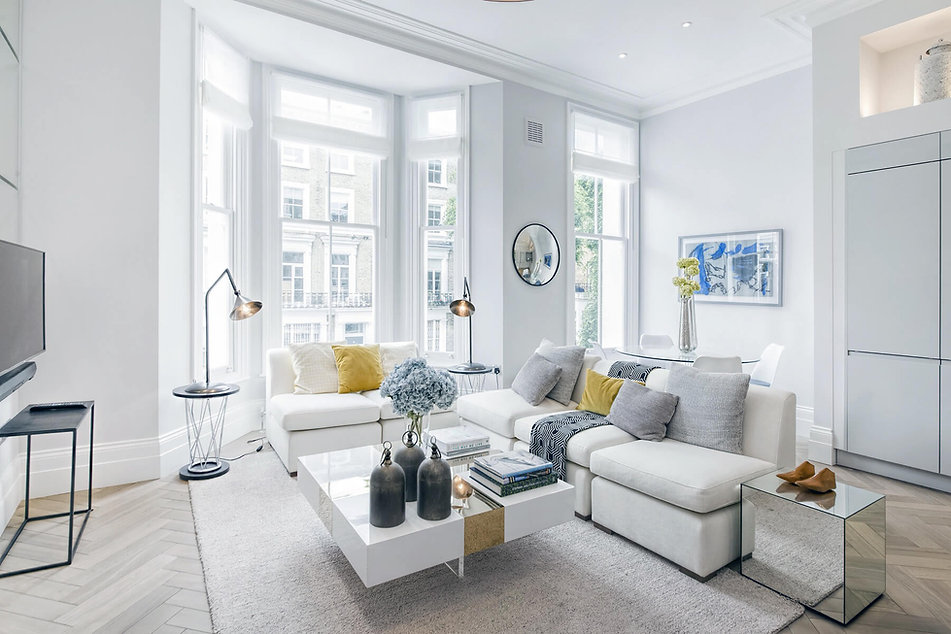 L-shape living room sofa in luxury renovation at Cathcart Road by London interior designer Catherine Wilman.