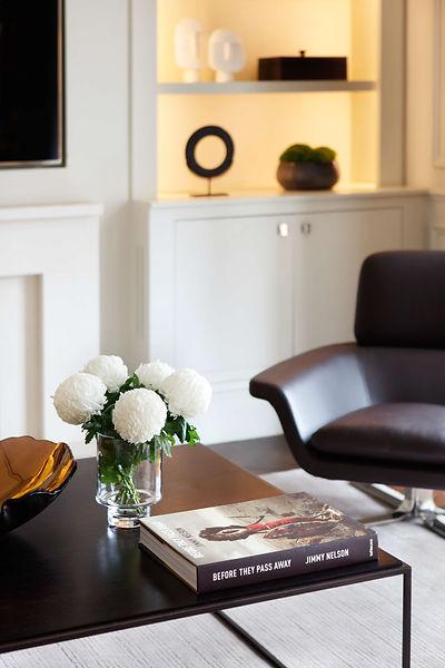 TV room leather armchair cabinet lightin
