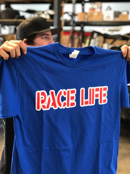 RACELIFE TEE RED WHITE AND BLUE