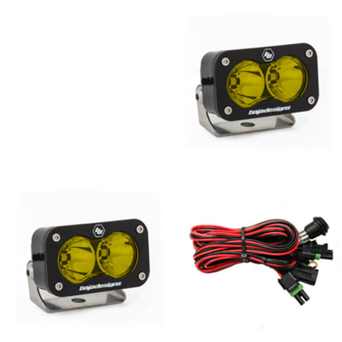 LED Light Pods Amber Lens Work or Spot Pattern Pair S2 Pro Series Baja Designs