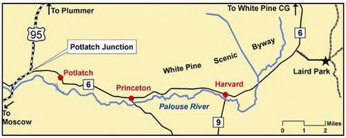 Potlatch, Idaho, regional map