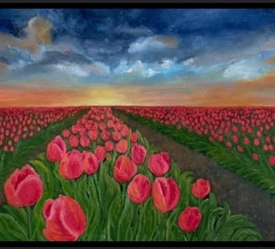 Timeless Tulips  Oil on canvas. Box canvas ready for hanging. 36x24 inches. £400
