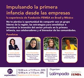 """Sesión Primera Infancia: """"Impulsando la primera infancia desde las empresas: la experiencia de Fundación FEMSA en Brasil y México"""""""