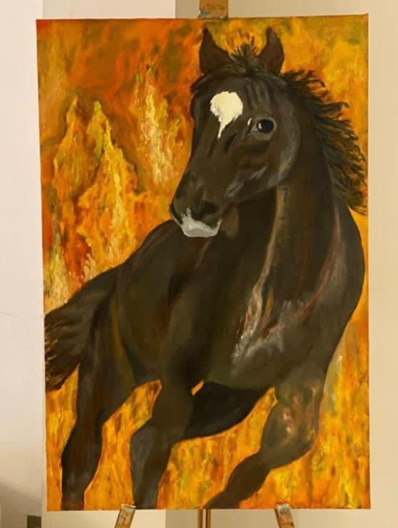 A Valiant Gallop!  Oil on canvas. Box canvas ready for hanging - 36x24 inches.  £300.