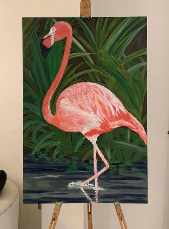 A Solo Flamingo  Oil on canvas. Box canvas ready for hanging. 36x24 inches £300