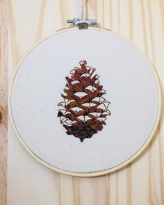 Pinecone hoop hanging