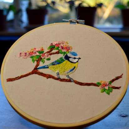 Blue tit on cherry blossom embroidered h