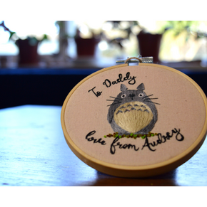 Embroidered hoop of Totoro
