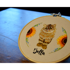 Embroidery of Bella the cat