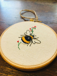 Bee Embroidered Wall Hanging