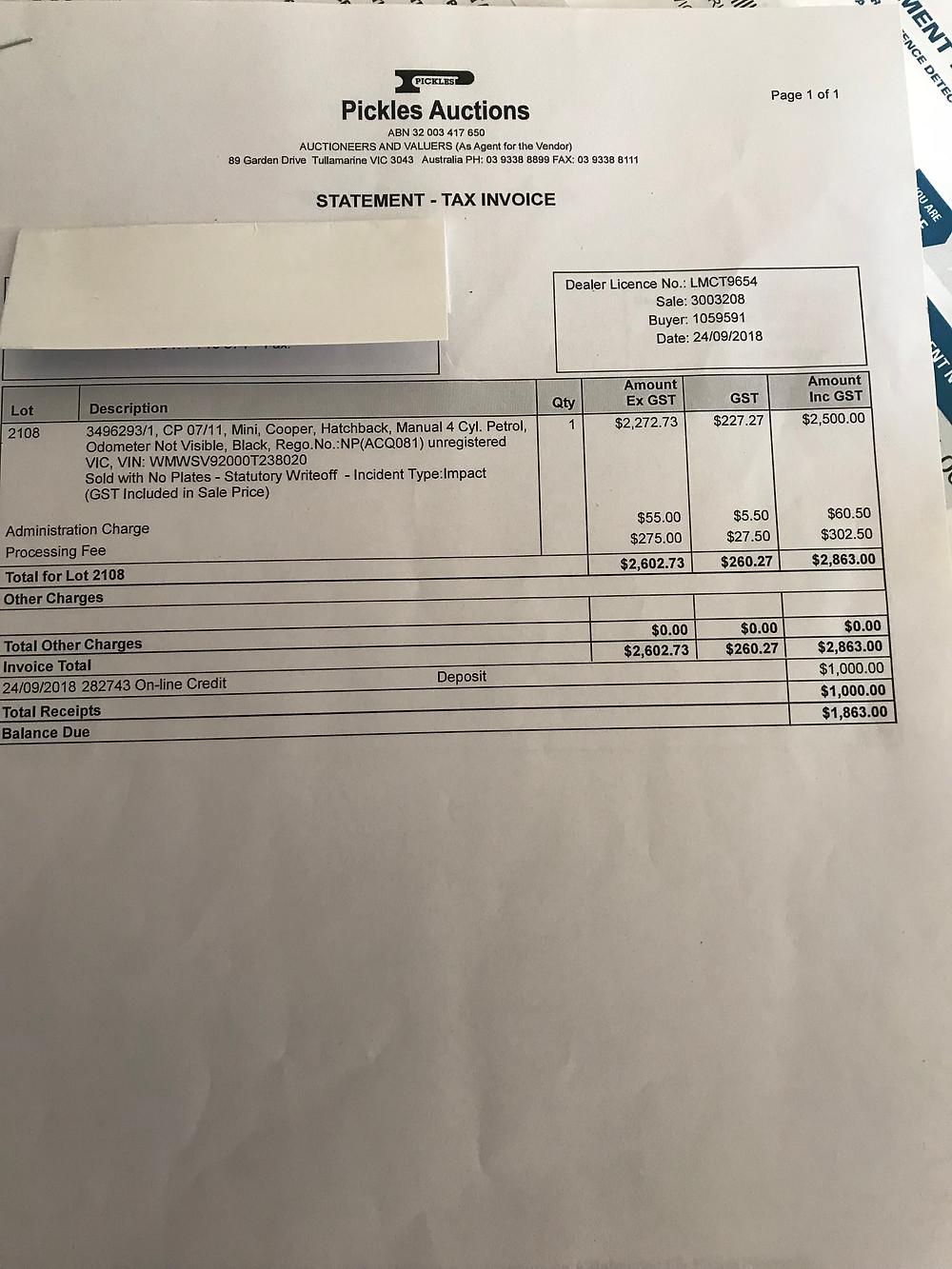 The original invoice