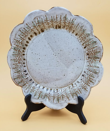 P Bowers Scalloped Pines Plate