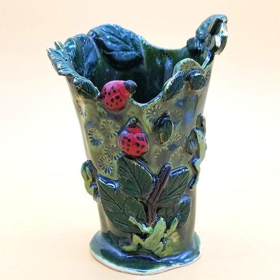 B Pullon Lady Bug Vase