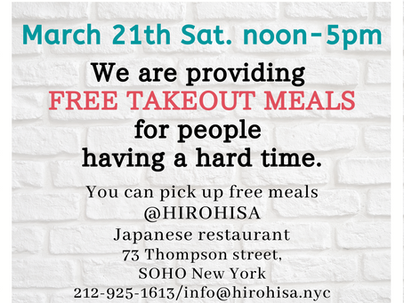 We are extending our Free takeout meal service to 3/21 Sat.