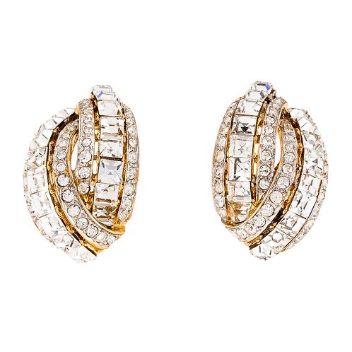 Nina Ricci Vintage Crystal Clip-On Earrings