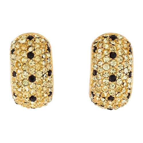 Christian Dior gold tone clip-on earrings with crystal accents