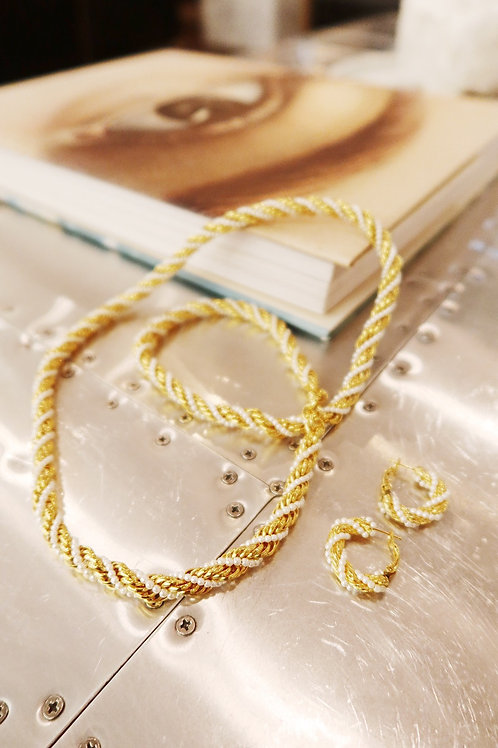 Vintage Gold Pearl Rope Chain necklace & earrings set