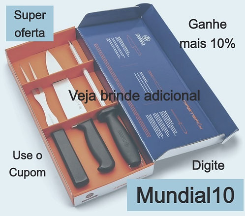 Conjunto CHURRASCO PRET0 3PC MASTER LINE 7800-3CH