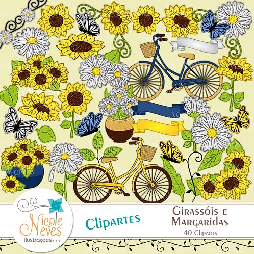 GIRASSÓIS E MARGARIDAS - CLIPART
