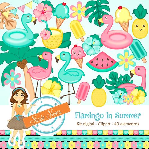 FLAMINGO IN SUMMER - CLIPART