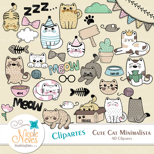 CUTE CAT MINIMALISTA - CLIPART