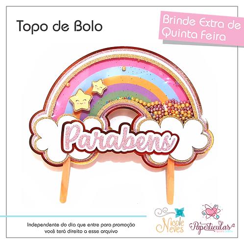 TOPO DE BOLO RAINBOW - PRINTABLE