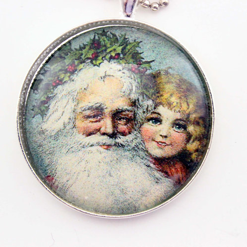 Vintage Santa Claus with Girl