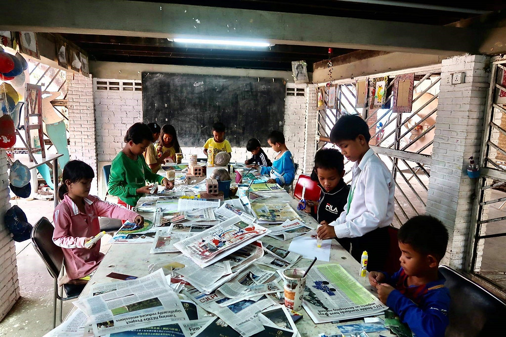 Avec les enfants de Battambang