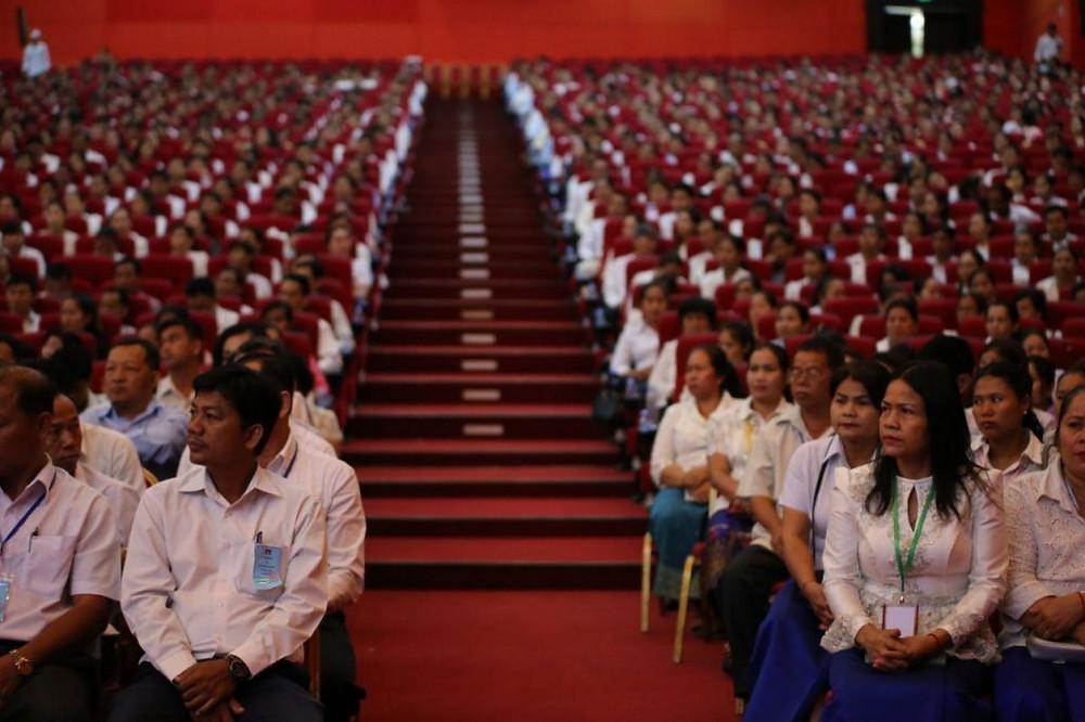 Réunion avec les personnels de l'éducation au Centre d'exposition et de convention de Diamond Island