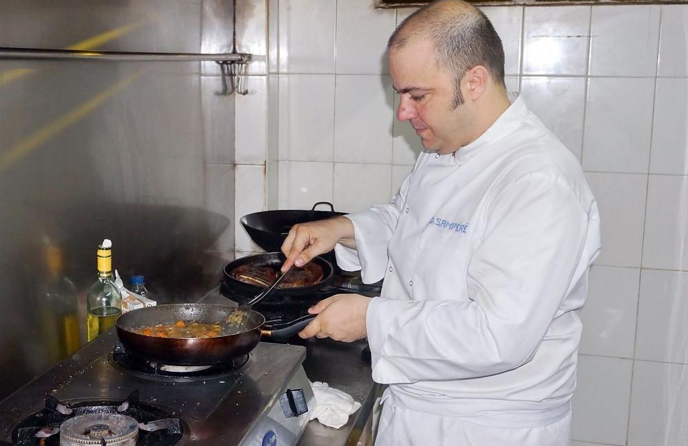 Frank Sampéré en cuisine à l'Open Wine
