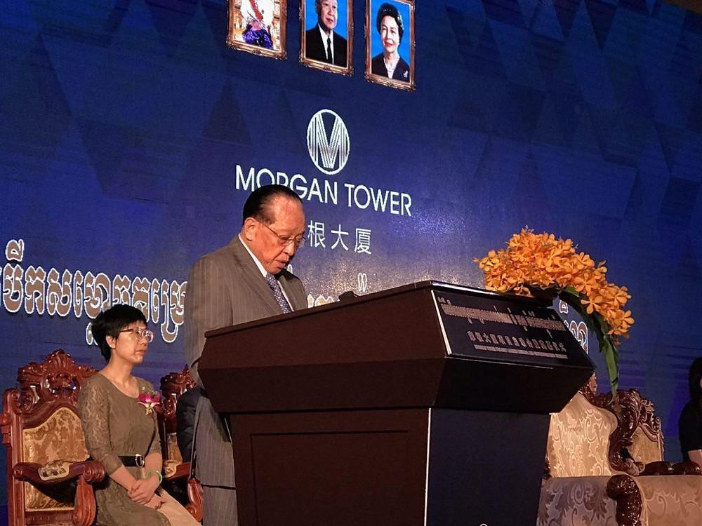 Le vice-Premier ministre Hor Namhong lors de la cérémonie d'inauguration de la tour Morgan à Koh Pich