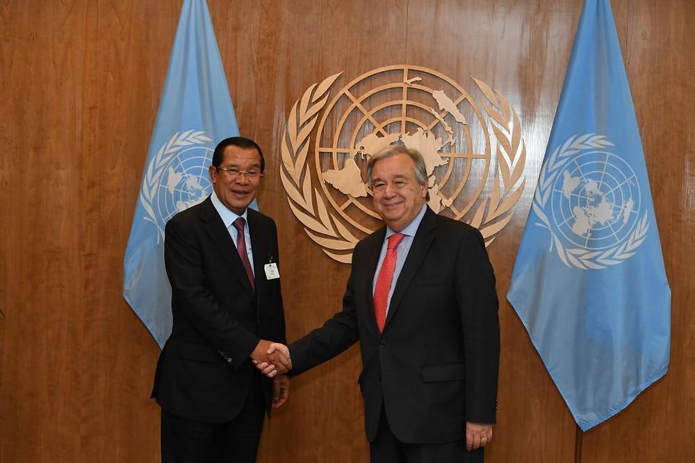 Le Premier ministre Hun Sen, lors de sa rencontre avec le Secrétaire général de l'ONU, Antonio Guterres, à New York