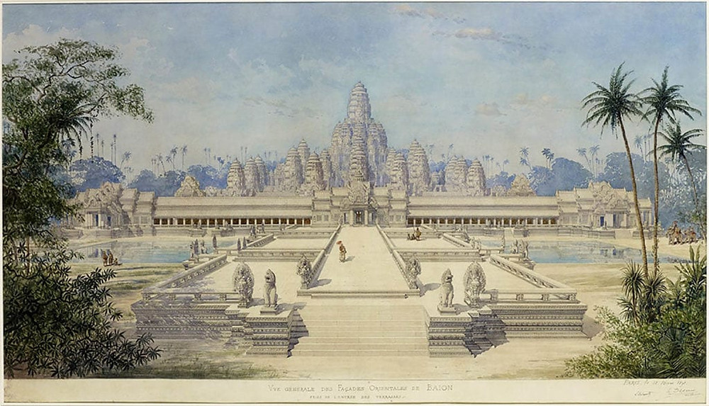 Le temple du Bayon, recréé par Louis Delaporte