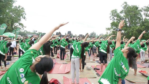 Deuxième Journée Internationale du Yoga à Siem Reap. Photographie par Hang Seak