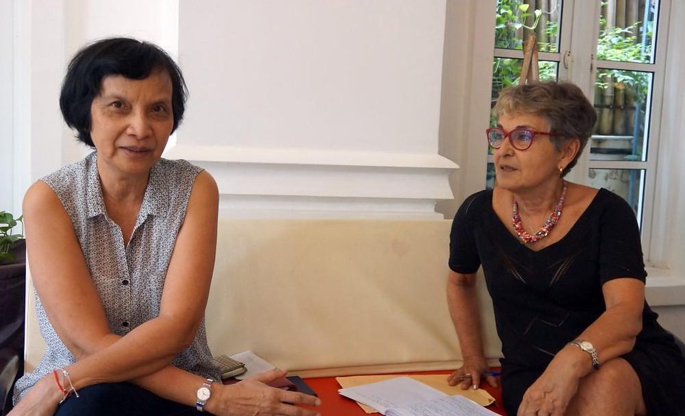 SAR Princesse Sylvia Sisowath, toute nouvelle responsable Cambodge pour l'Association Générale des Intervenants Retraités etDanièle Toulemont,déléguée internationale