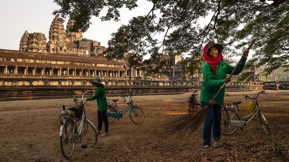 Pique-niques et hamacs désormais interdits autour d'Angkor Wat. Photographie
