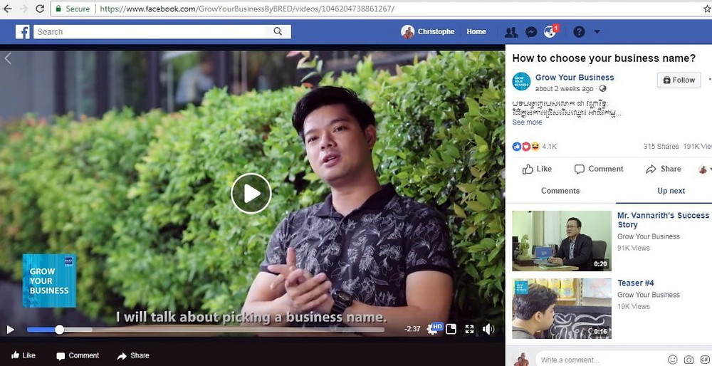 Chea Vannarith, acteur bien connu du public cambodgien mais également créateur de l'entreprise Pinkday Cambodia