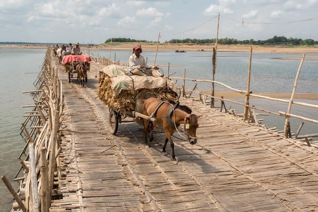 Le pont de bambou à Kampong Cham